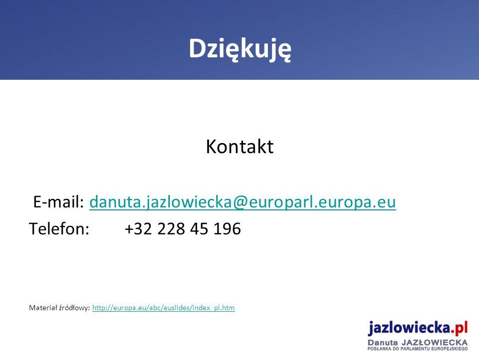 Kontakt E-mail: danuta.jazlowiecka@europarl.europa.eudanuta.jazlowiecka@europarl.europa.eu Telefon: +32 228 45 196 Materiał źródłowy: http://europa.eu/abc/euslides/index_pl.htmhttp://europa.eu/abc/euslides/index_pl.htm Dziękuję