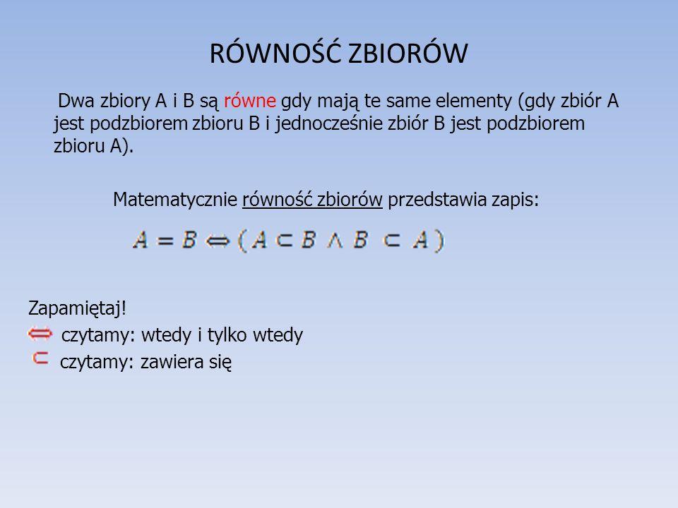 RÓWNOŚĆ ZBIORÓW Dwa zbiory A i B są równe gdy mają te same elementy (gdy zbiór A jest podzbiorem zbioru B i jednocześnie zbiór B jest podzbiorem zbioru A).