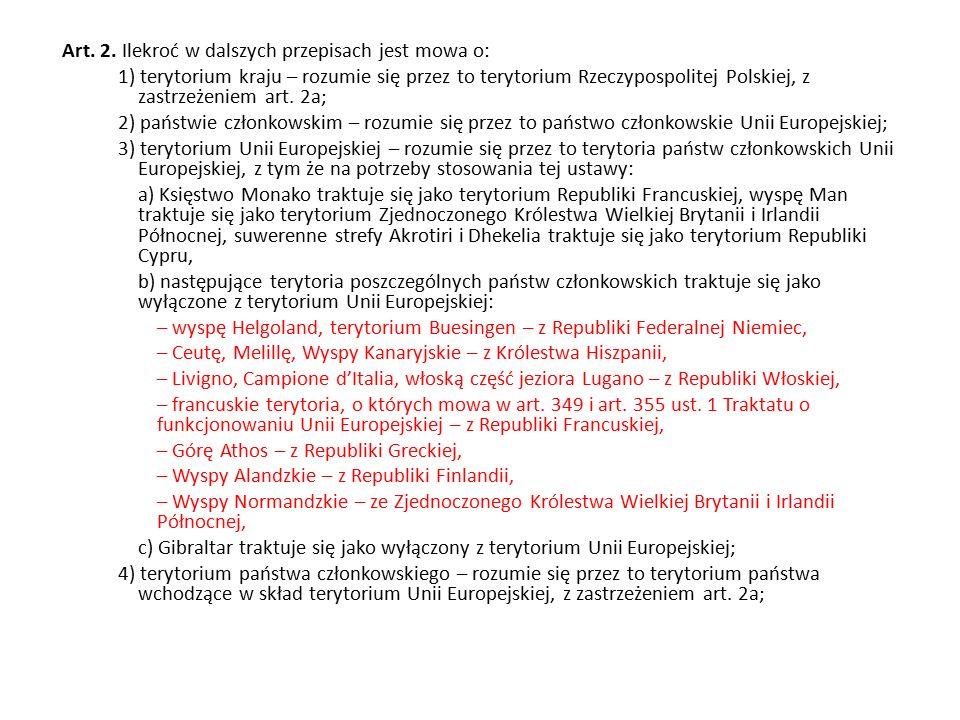 Art. 2. Ilekroć w dalszych przepisach jest mowa o: 1) terytorium kraju – rozumie się przez to terytorium Rzeczypospolitej Polskiej, z zastrzeżeniem ar