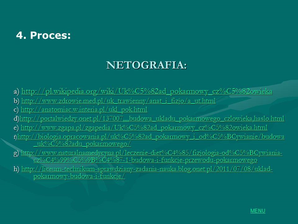 NETOGRAFIA: a) http://pl.wikipedia.org/wiki/Uk%C5%82ad_pokarmowy_cz%C5%82owieka http://pl.wikipedia.org/wiki/Uk%C5%82ad_pokarmowy_cz%C5%82owieka b) http://www.zdrowie.med.pl/uk_trawienny/anat_i_fizjo/a_ut.html http://www.zdrowie.med.pl/uk_trawienny/anat_i_fizjo/a_ut.html c) http://anatomiac.w.interia.pl/ukl_pok.html http://anatomiac.w.interia.pl/ukl_pok.html d)http://portalwiedzy.onet.pl/137007,,,,budowa_ukladu_pokarmowego_czlowieka,haslo.html http://portalwiedzy.onet.pl/137007,,,,budowa_ukladu_pokarmowego_czlowieka,haslo.html e) http://www.zgapa.pl/zgapedia/Uk%C5%82ad_pokarmowy_cz%C5%82owieka.html http://www.zgapa.pl/zgapedia/Uk%C5%82ad_pokarmowy_cz%C5%82owieka.html f) http://biologia.opracowania.pl/uk%C5%82ad_pokarmowy_i_od%C5%BCywianie/budowa _uk%C5%82adu_pokarmowego/ http://biologia.opracowania.pl/uk%C5%82ad_pokarmowy_i_od%C5%BCywianie/budowa _uk%C5%82adu_pokarmowego/ http://biologia.opracowania.pl/uk%C5%82ad_pokarmowy_i_od%C5%BCywianie/budowa _uk%C5%82adu_pokarmowego/ g) http://www.naturalnamedycyna.pl/leczenie-diet%C4%85/fizjologia-od%C5%BCywiania- cz%C4%99%C5%9B%C4%87-1-budowa-i-funkcje-przewodu-pokarmowego http://www.naturalnamedycyna.pl/leczenie-diet%C4%85/fizjologia-od%C5%BCywiania- cz%C4%99%C5%9B%C4%87-1-budowa-i-funkcje-przewodu-pokarmowegohttp://www.naturalnamedycyna.pl/leczenie-diet%C4%85/fizjologia-od%C5%BCywiania- cz%C4%99%C5%9B%C4%87-1-budowa-i-funkcje-przewodu-pokarmowego h) http://liceum-technikum-sprawdziany-zadania-nauka.blog.onet.pl/2011/07/08/uklad- pokarmowy-budowa-i-funkcje/ http://liceum-technikum-sprawdziany-zadania-nauka.blog.onet.pl/2011/07/08/uklad- pokarmowy-budowa-i-funkcje/http://liceum-technikum-sprawdziany-zadania-nauka.blog.onet.pl/2011/07/08/uklad- pokarmowy-budowa-i-funkcje/ 4.