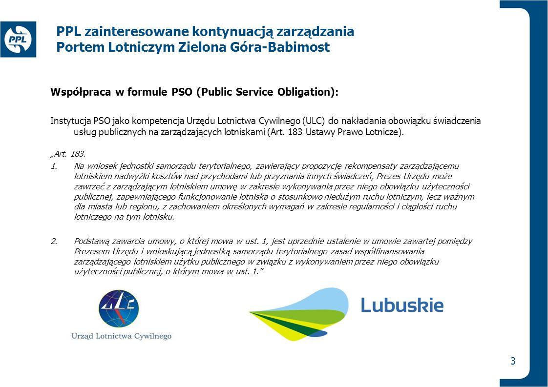 3 PPL zainteresowane kontynuacją zarządzania Portem Lotniczym Zielona Góra-Babimost Współpraca w formule PSO (Public Service Obligation): Instytucja P