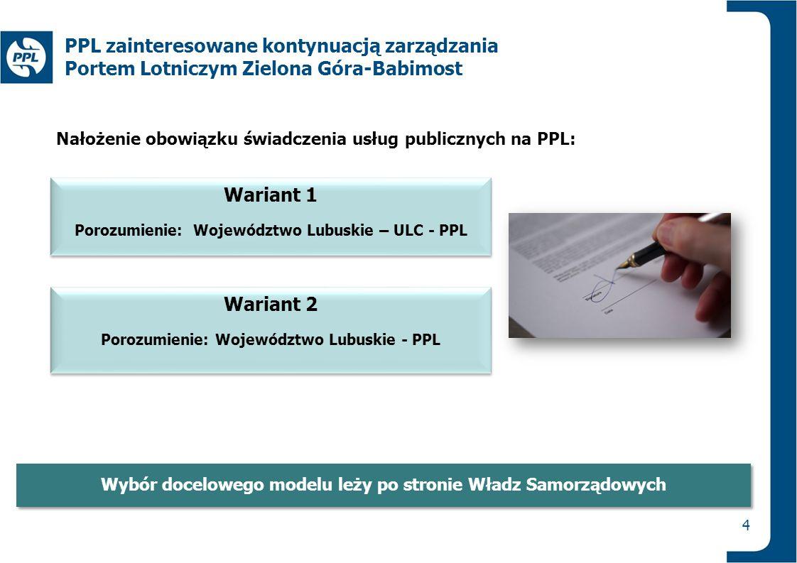 Wariant 1 Porozumienie: Województwo Lubuskie – ULC - PPL Wariant 1 Porozumienie: Województwo Lubuskie – ULC - PPL 4 PPL zainteresowane kontynuacją zar