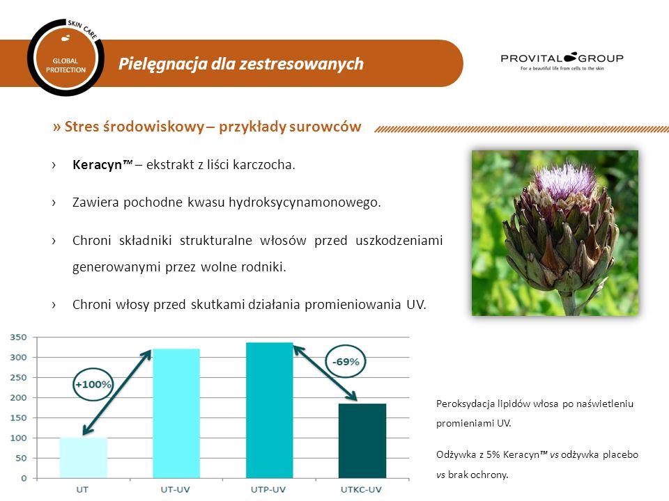 Pielęgnacja dla zestresowanych GLOBAL PROTECTION » Stres środowiskowy – przykłady surowców ›Keracyn™ – ekstrakt z liści karczocha. ›Zawiera pochodne k