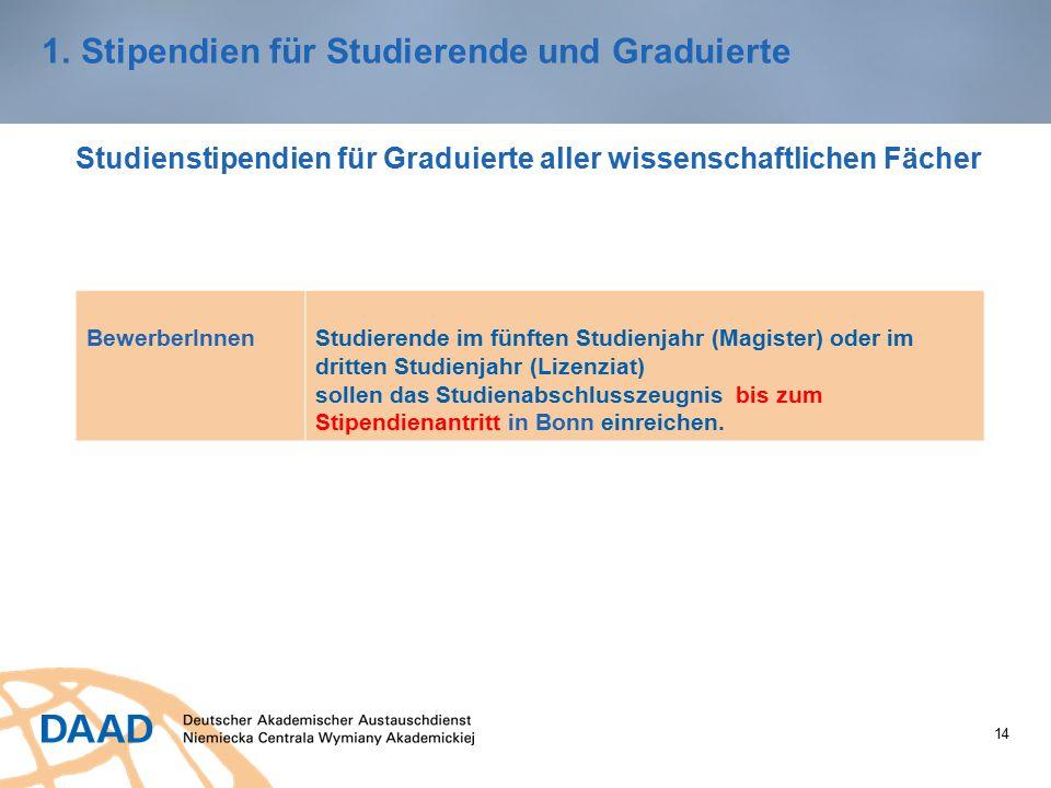 14 1.Stipendien für Studierende und Graduierte Studienstipendien für Graduierte aller wissenschaftlichen Fächer BewerberInnenStudierende im fünften Studienjahr (Magister) oder im dritten Studienjahr (Lizenziat) sollen das Studienabschlusszeugnis bis zum Stipendienantritt in Bonn einreichen.