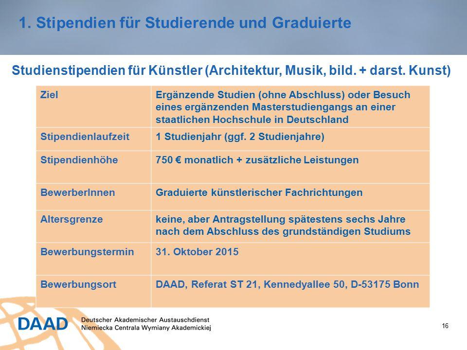 16 1.Stipendien für Studierende und Graduierte Studienstipendien für Künstler (Architektur, Musik, bild.
