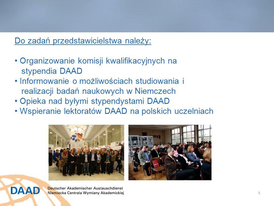 5 Do zadań przedstawicielstwa należy: Organizowanie komisji kwalifikacyjnych na stypendia DAAD Informowanie o możliwościach studiowania i realizacji badań naukowych w Niemczech Opieka nad byłymi stypendystami DAAD Wspieranie lektoratów DAAD na polskich uczelniach