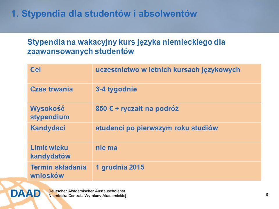 8 1.Stypendia dla studentów i absolwentów Stypendia na wakacyjny kurs języka niemieckiego dla zaawansowanych studentów Celuczestnictwo w letnich kursach językowych Czas trwania3-4 tygodnie Wysokość stypendium 850 € + ryczałt na podróż Kandydacistudenci po pierwszym roku studiów Limit wieku kandydatów nie ma Termin składania wniosków 1 grudnia 2015