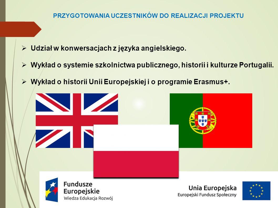 PRZYGOTOWANIA UCZESTNIKÓW DO REALIZACJI PROJEKTU  Udział w konwersacjach z języka angielskiego.