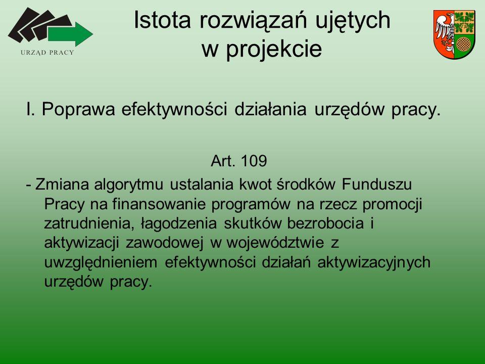 Istota rozwiązań ujętych w projekcie I. Poprawa efektywności działania urzędów pracy.