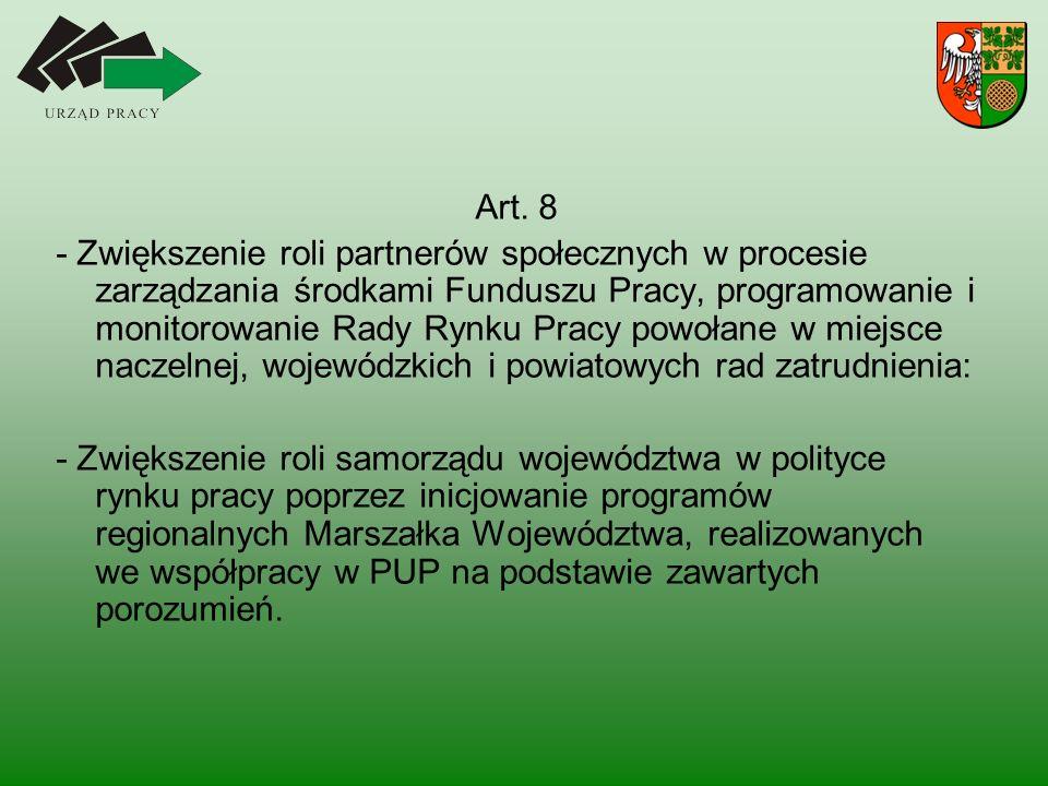 Art. 8 - Zwiększenie roli partnerów społecznych w procesie zarządzania środkami Funduszu Pracy, programowanie i monitorowanie Rady Rynku Pracy powołan