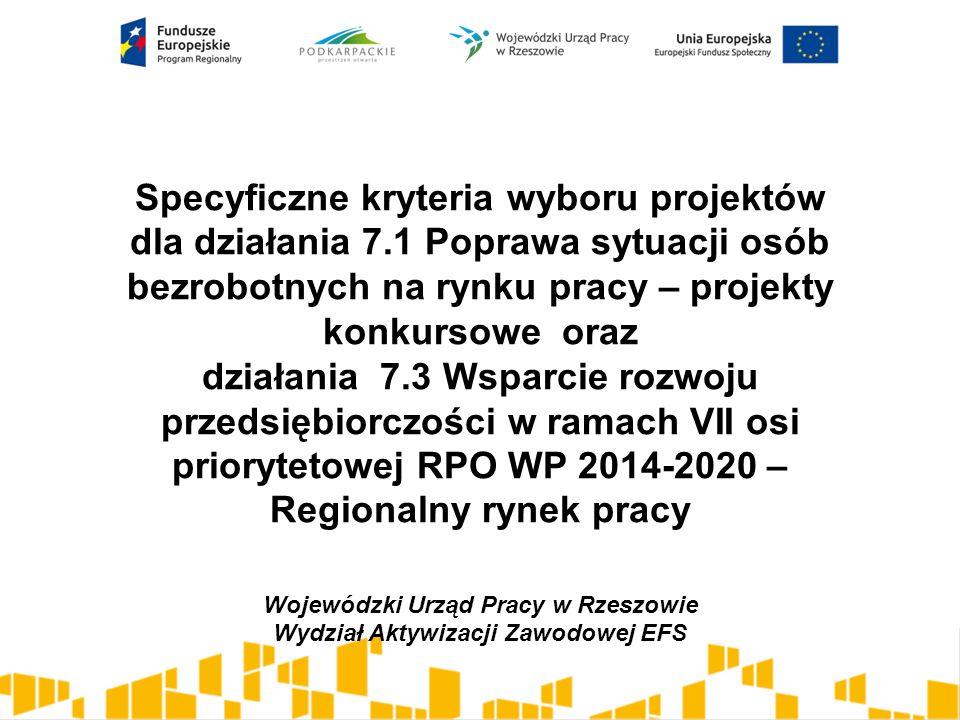 Specyficzne kryteria wyboru projektów dla działania 7.1 Poprawa sytuacji osób bezrobotnych na rynku pracy – projekty konkursowe oraz działania 7.3 Wsp