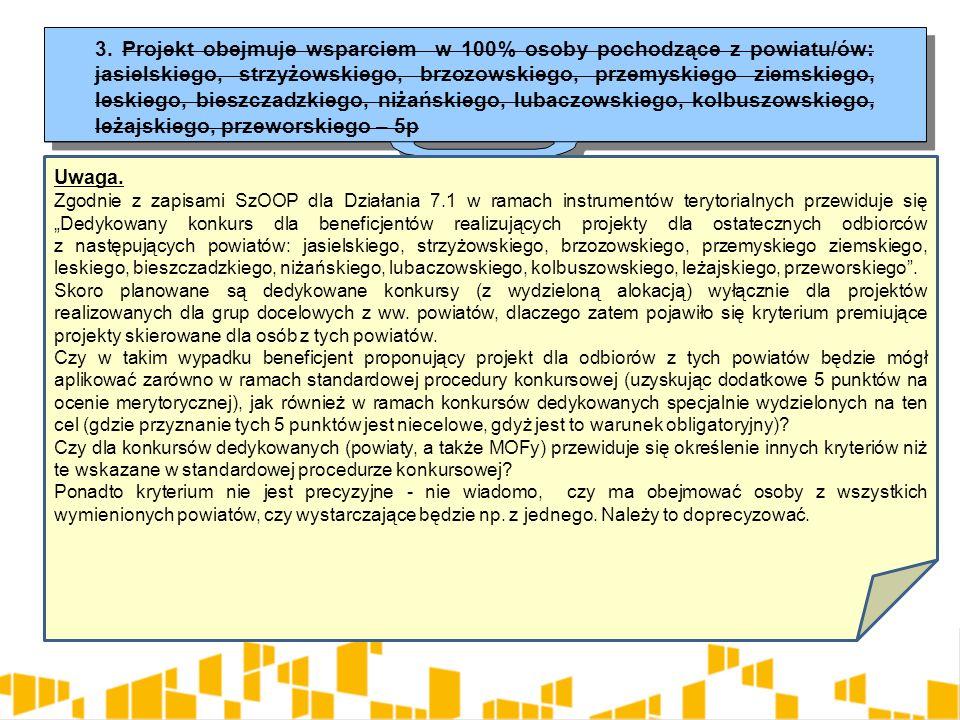 3. Projekt obejmuje wsparciem w 100% osoby pochodzące z powiatu/ów: jasielskiego, strzyżowskiego, brzozowskiego, przemyskiego ziemskiego, leskiego, bi
