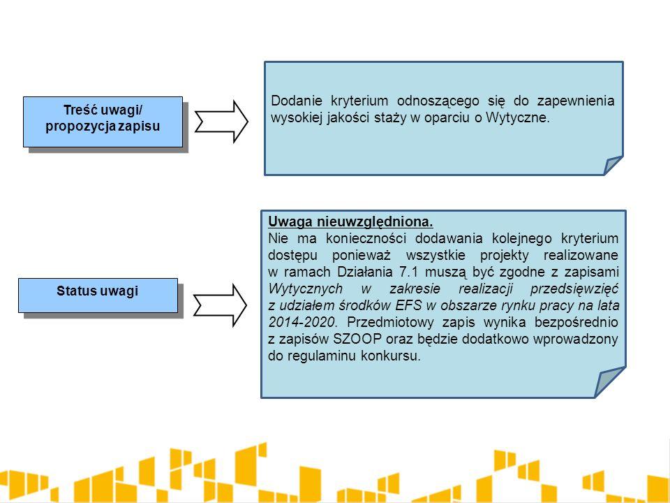 Treść uwagi/ propozycja zapisu Status uwagi Dodanie kryterium odnoszącego się do zapewnienia wysokiej jakości staży w oparciu o Wytyczne. Uwaga nieuwz