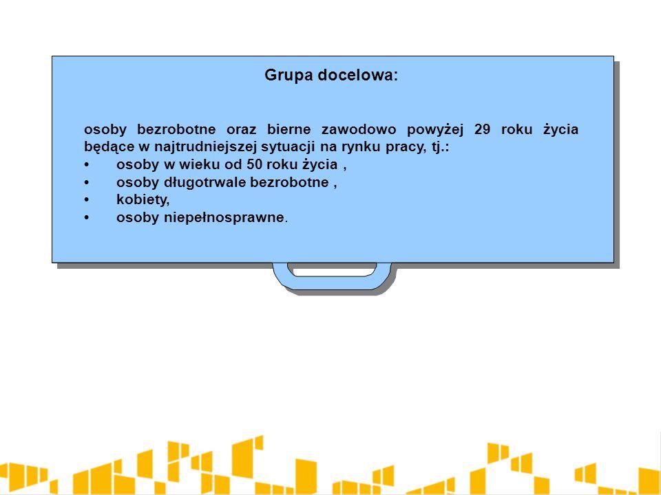 Grupa docelowa: osoby bezrobotne oraz bierne zawodowo powyżej 29 roku życia będące w najtrudniejszej sytuacji na rynku pracy, tj.: osoby w wieku od 50