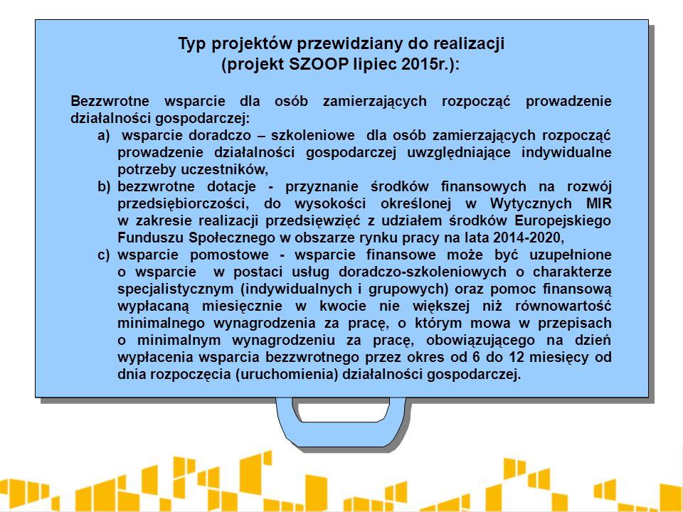 Typ projektów przewidziany do realizacji (projekt SZOOP lipiec 2015r.): Bezzwrotne wsparcie dla osób zamierzających rozpocząć prowadzenie działalności