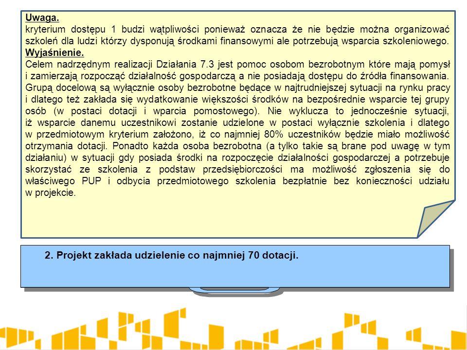 Uwaga. kryterium dostępu 1 budzi wątpliwości ponieważ oznacza że nie będzie można organizować szkoleń dla ludzi którzy dysponują środkami finansowymi