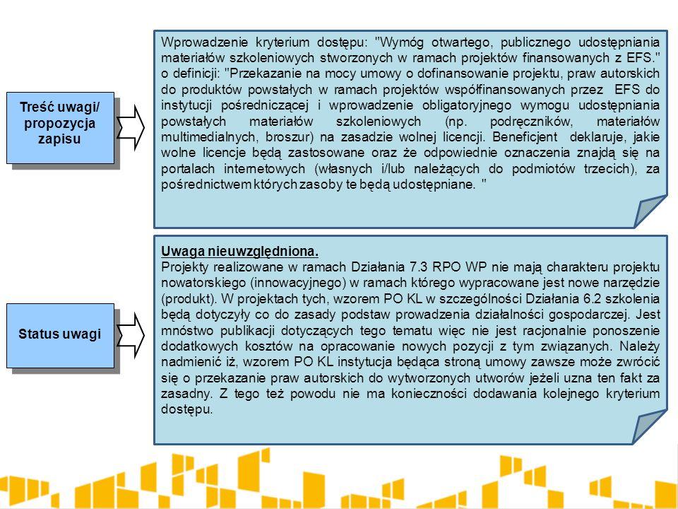 Treść uwagi/ propozycja zapisu Status uwagi Wprowadzenie kryterium dostępu: