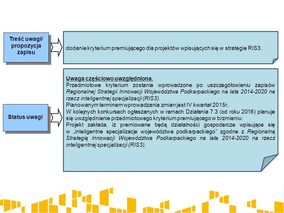 Treść uwagi/ propozycja zapisu Status uwagi dodanie kryterium premiującego dla projektów wpisujących się w strategie RIS3. Uwaga częściowo uwzględnion