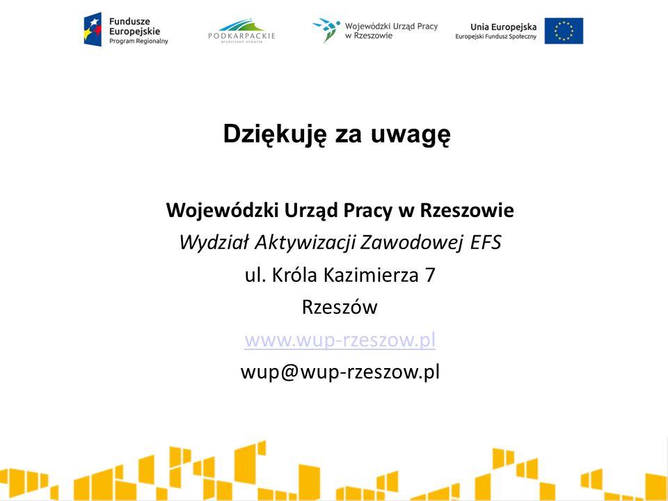 Dziękuję za uwagę Wojewódzki Urząd Pracy w Rzeszowie Wydział Aktywizacji Zawodowej EFS ul. Króla Kazimierza 7 Rzeszów www.wup-rzeszow.pl wup@wup-rzesz