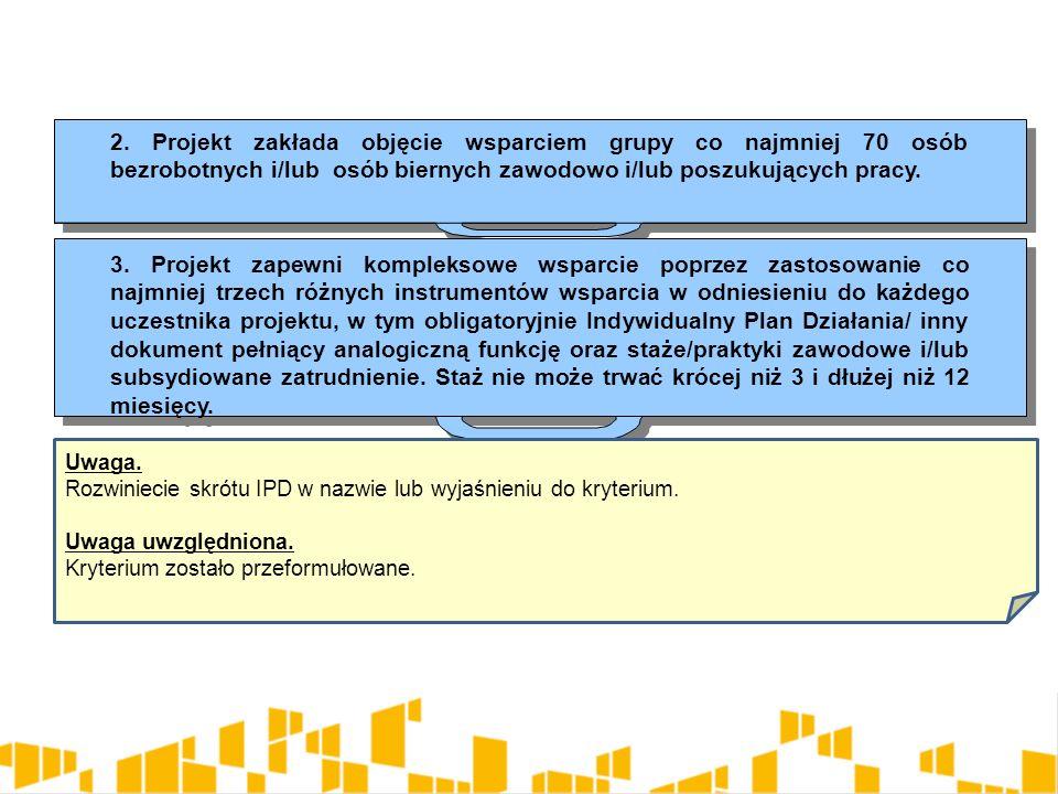 2. Projekt zakłada objęcie wsparciem grupy co najmniej 70 osób bezrobotnych i/lub osób biernych zawodowo i/lub poszukujących pracy. 3. Projekt zapewni