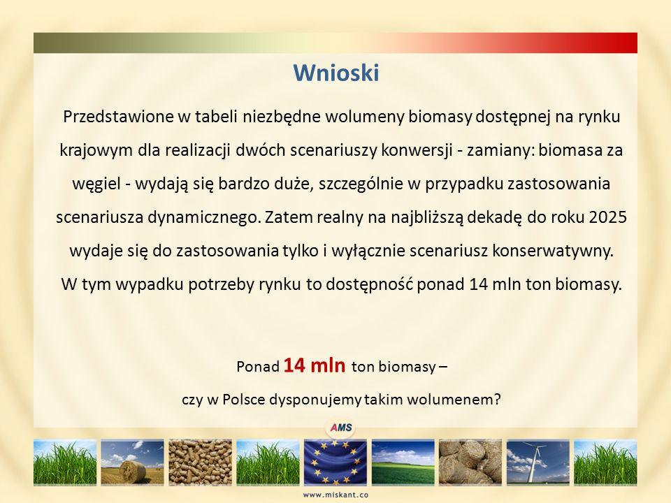 Wnioski Przedstawione w tabeli niezbędne wolumeny biomasy dostępnej na rynku krajowym dla realizacji dwóch scenariuszy konwersji - zamiany: biomasa za węgiel - wydają się bardzo duże, szczególnie w przypadku zastosowania scenariusza dynamicznego.