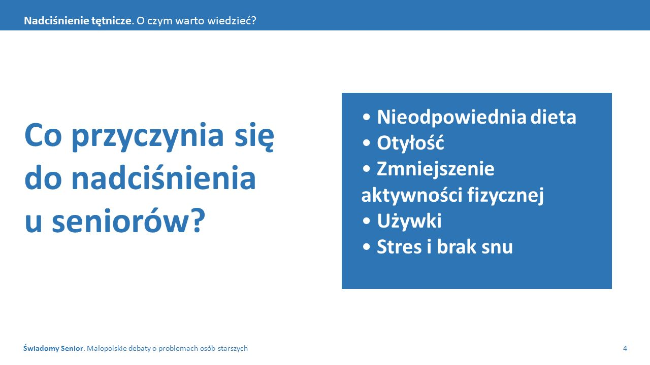 Świadomy Senior. Małopolskie debaty o problemach osób starszych4 Nadciśnienie tętnicze.