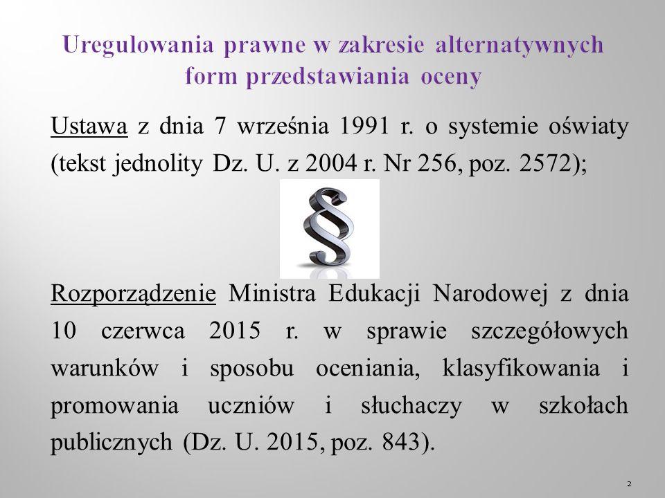 Ustawa z dnia 7 września 1991 r. o systemie oświaty (tekst jednolity Dz.