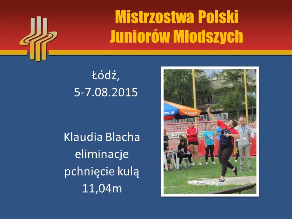 Mistrzostwa Polski Juniorów Młodszych Klaudia Blacha XVI miejsce rzut oszczepem 35,44m Łódź, 5-7.08.2015