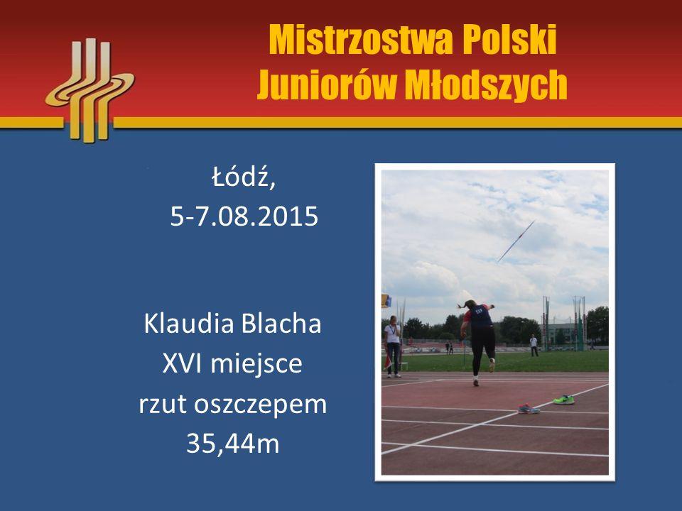 Halowe Mistrzostwa Polski Juniorów Toruń, 13-15.02.2015r Maciej Cisiński V miejsce trójskok 13,98m