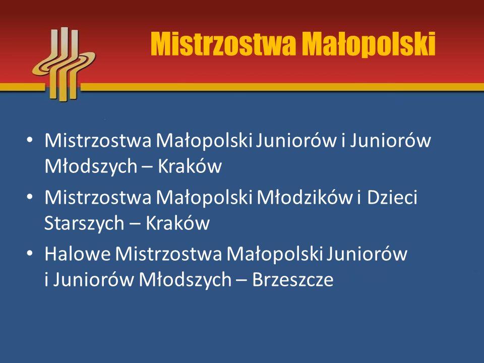 Mistrzostwa Małopolski Mistrzostwa Małopolski Juniorów i Juniorów Młodszych – Kraków Mistrzostwa Małopolski Młodzików i Dzieci Starszych – Kraków Halo