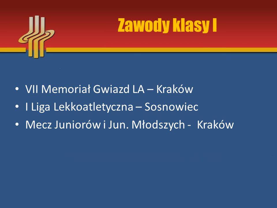 Zawody klasy I VII Memoriał Gwiazd LA – Kraków I Liga Lekkoatletyczna – Sosnowiec Mecz Juniorów i Jun. Młodszych - Kraków
