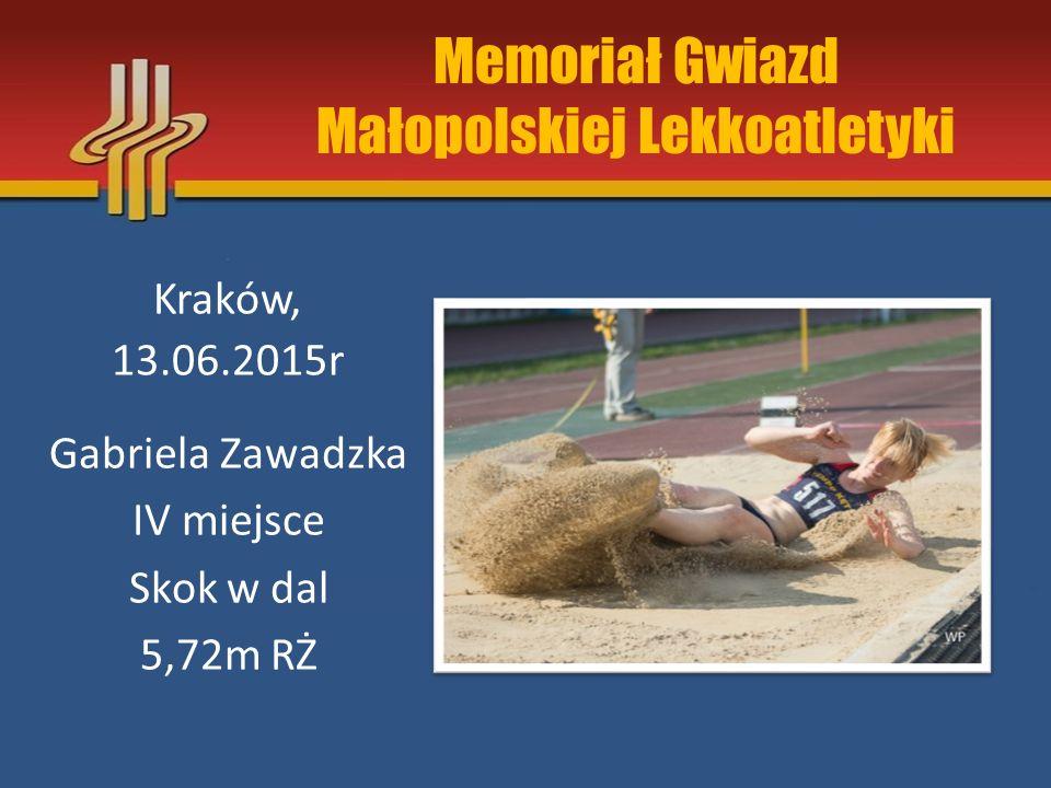 Memoriał Gwiazd Małopolskiej Lekkoatletyki Kraków, 13.06.2015r Gabriela Zawadzka IV miejsce Skok w dal 5,72m RŻ