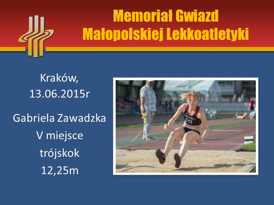 Memoriał Gwiazd Małopolskiej Lekkoatletyki Kraków, 13.06.2015r Gabriela Zawadzka V miejsce trójskok 12,25m