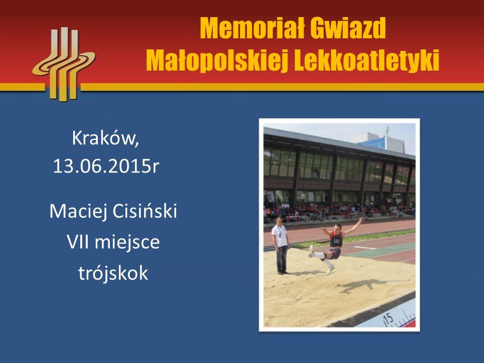 Memoriał Gwiazd Małopolskiej Lekkoatletyki Kraków, 13.06.2015r Maciej Cisiński VII miejsce trójskok