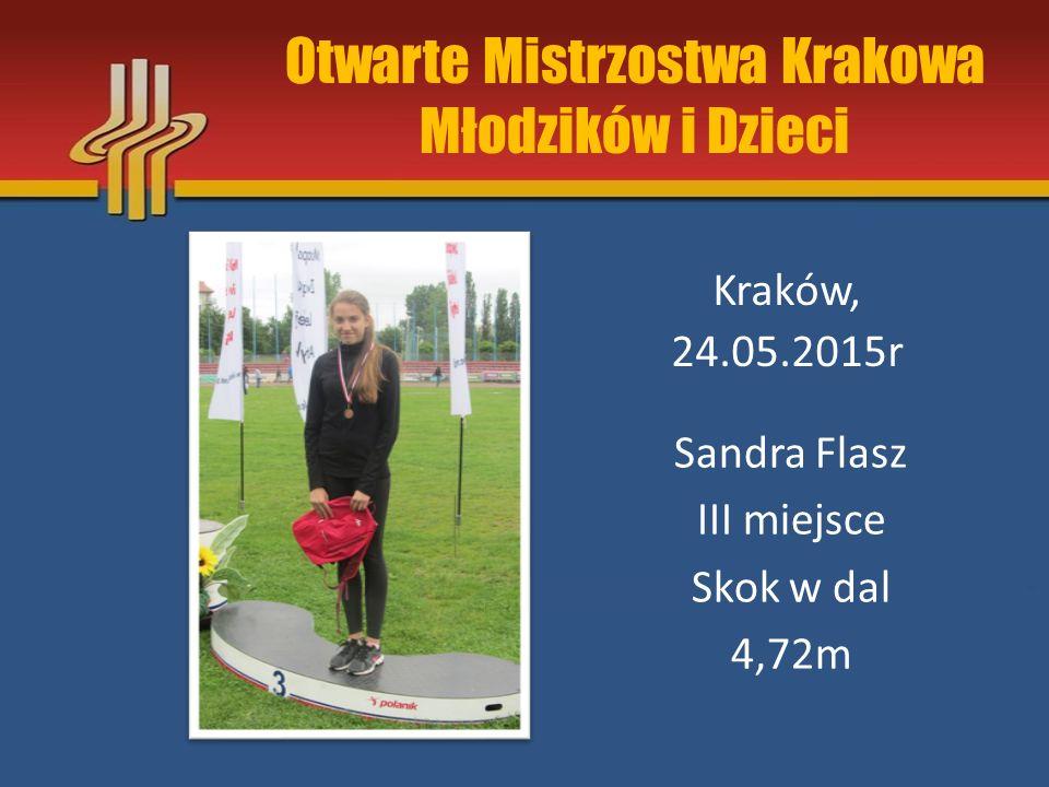 """Miting """"Kraka Kraków, 17.05.2015r Julia Żyła I miejsce Skok w dal 4,05m"""