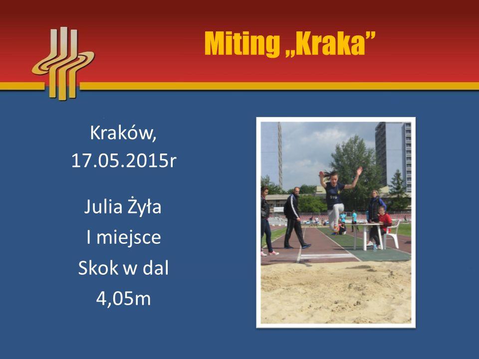 """Miting """"Kraka Kraków, 17.05.2015r Weronika Szpilka I miejsce 60m 9,40s"""
