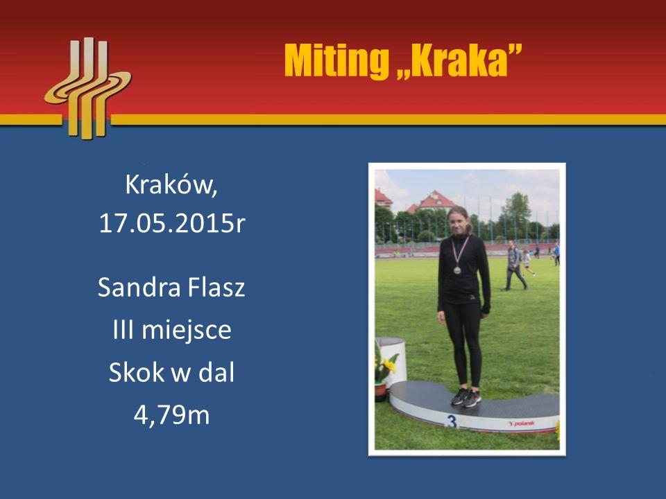 """Miting """"Kraka"""" Kraków, 17.05.2015r Sandra Flasz III miejsce Skok w dal 4,79m"""