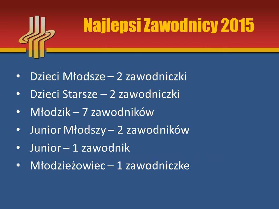 Najlepsi Zawodnicy 2015 Dzieci Młodsze – 2 zawodniczki Dzieci Starsze – 2 zawodniczki Młodzik – 7 zawodników Junior Młodszy – 2 zawodników Junior – 1