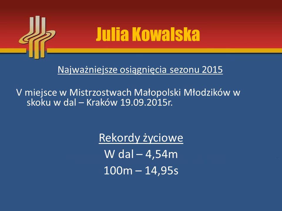 Najważniejsze osiągnięcia sezonu 2015 V miejsce w Mistrzostwach Małopolski Młodzików w skoku w dal – Kraków 19.09.2015r. Rekordy życiowe W dal – 4,54m