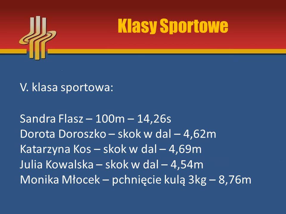 Klasy Sportowe V. klasa sportowa: Sandra Flasz – 100m – 14,26s Dorota Doroszko – skok w dal – 4,62m Katarzyna Kos – skok w dal – 4,69m Julia Kowalska