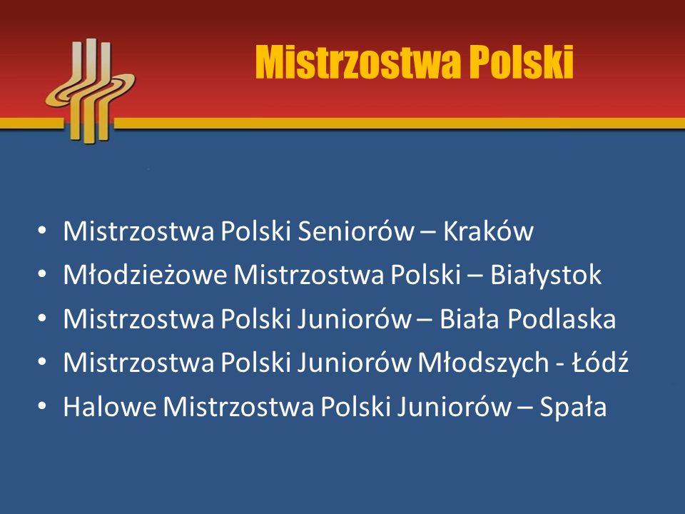 Mistrzostwa Polski Mistrzostwa Polski Seniorów – Kraków Młodzieżowe Mistrzostwa Polski – Białystok Mistrzostwa Polski Juniorów – Biała Podlaska Mistrz