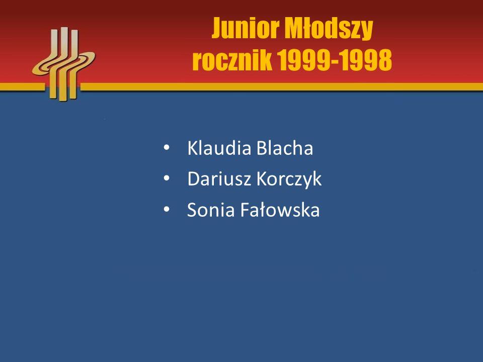 Junior Młodszy rocznik 1999-1998 Klaudia Blacha Dariusz Korczyk Sonia Fałowska