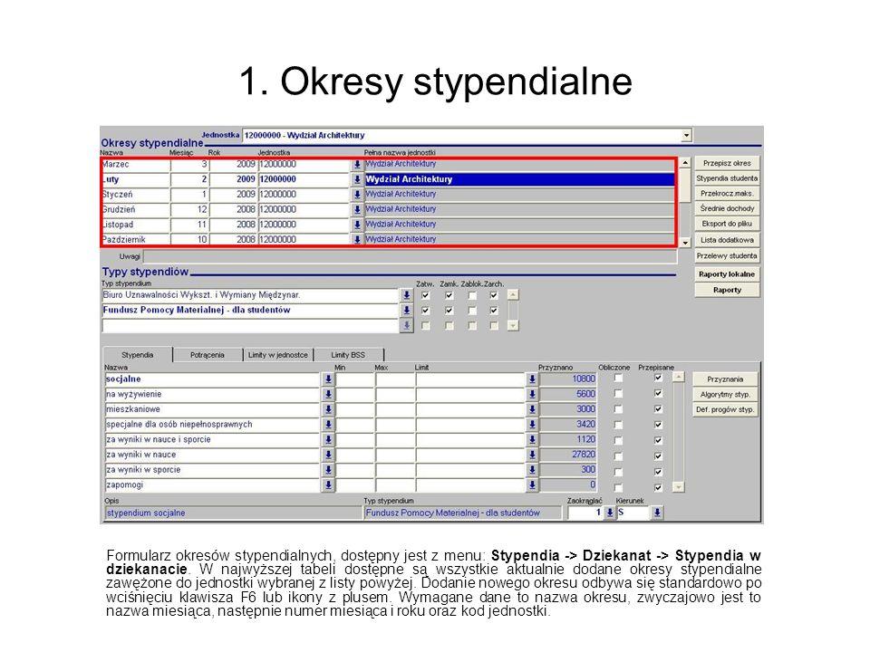 1. Okresy stypendialne Formularz okresów stypendialnych, dostępny jest z menu: Stypendia -> Dziekanat -> Stypendia w dziekanacie. W najwyższej tabeli