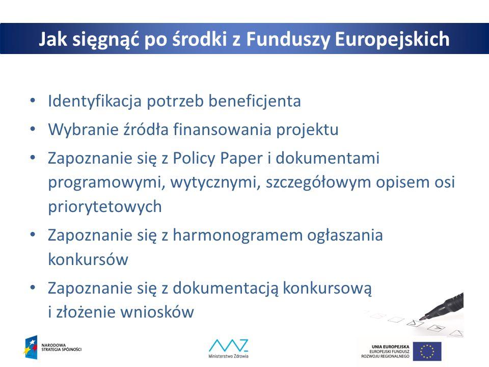 Jak sięgnąć po środki z Funduszy Europejskich Identyfikacja potrzeb beneficjenta Wybranie źródła finansowania projektu Zapoznanie się z Policy Paper i dokumentami programowymi, wytycznymi, szczegółowym opisem osi priorytetowych Zapoznanie się z harmonogramem ogłaszania konkursów Zapoznanie się z dokumentacją konkursową i złożenie wniosków