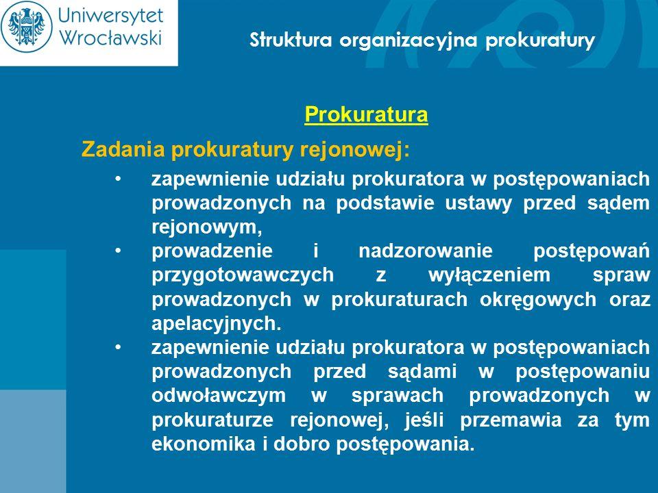 Struktura organizacyjna prokuratury Prokuratura Zadania prokuratury rejonowej: zapewnienie udziału prokuratora w postępowaniach prowadzonych na podsta