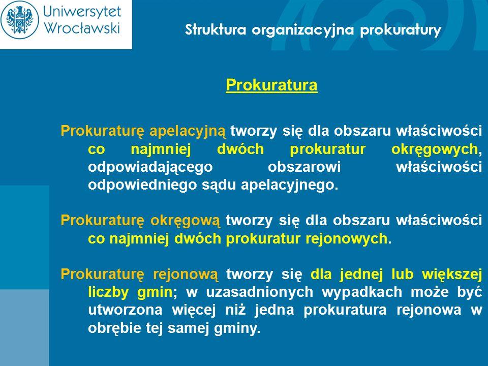 Struktura organizacyjna prokuratury Prokuratura Prokuraturę apelacyjną tworzy się dla obszaru właściwości co najmniej dwóch prokuratur okręgowych, odp