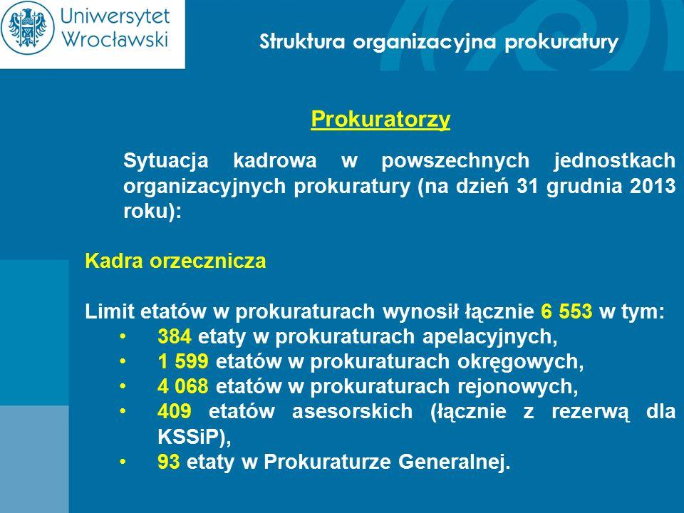 Struktura organizacyjna prokuratury Prokuratorzy Sytuacja kadrowa w powszechnych jednostkach organizacyjnych prokuratury (na dzień 31 grudnia 2013 rok