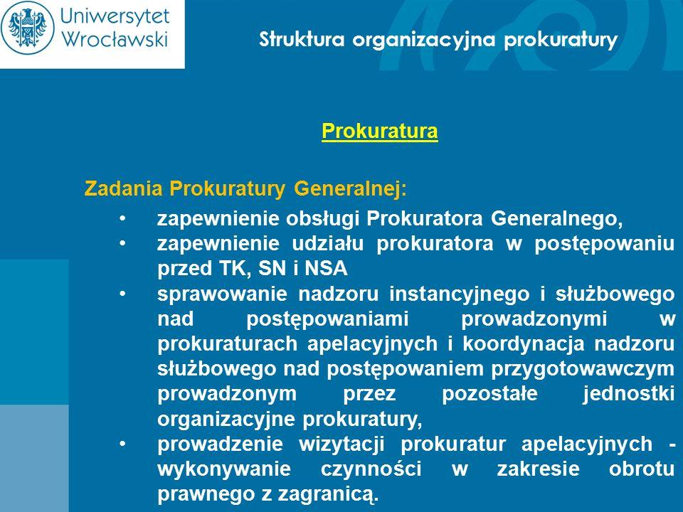 Struktura organizacyjna prokuratury Prokuratura Zadania Prokuratury Generalnej: zapewnienie obsługi Prokuratora Generalnego, zapewnienie udziału proku