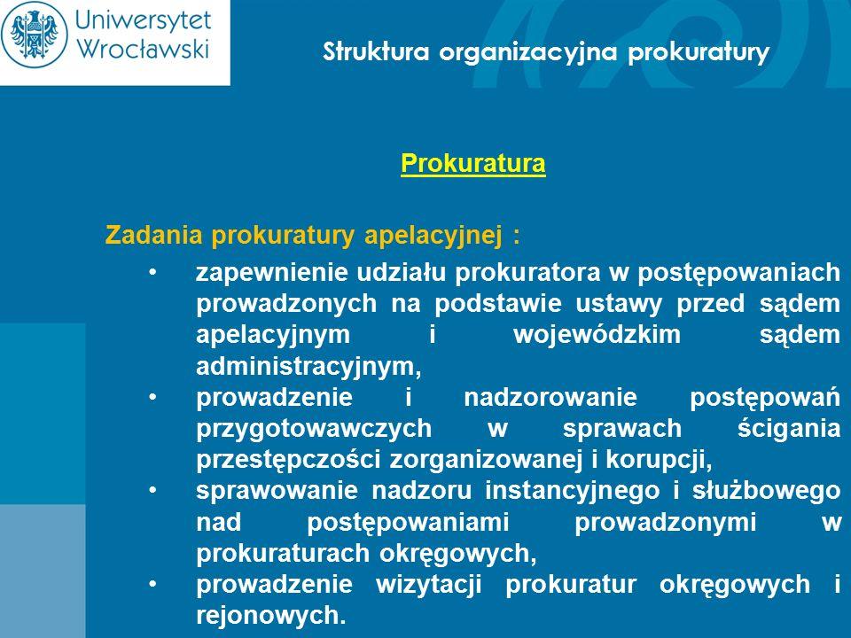 Struktura organizacyjna prokuratury Prokuratura Zadania prokuratury apelacyjnej : zapewnienie udziału prokuratora w postępowaniach prowadzonych na pod