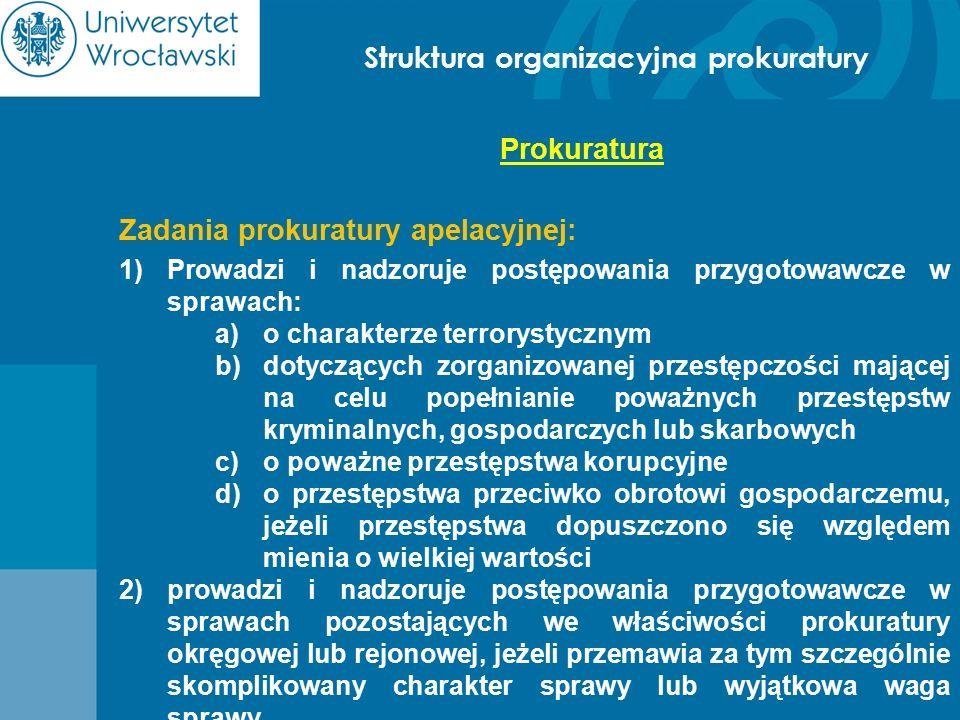 Struktura organizacyjna prokuratury Prokuratura Zadania prokuratury apelacyjnej: 1)Prowadzi i nadzoruje postępowania przygotowawcze w sprawach: a)o ch